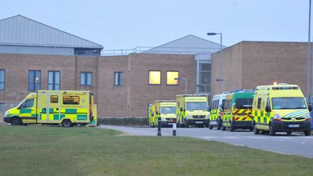 Ambulances at the Norfolk and Norwich University Hospital. NOTE: This photo was not taken on Sunday,