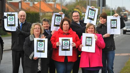 Councillors and campaigners who are appealing for a 20mph restriction on St Williams Way. Photo: Ste