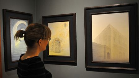Visitors to Norwich Castle enjoy the new Gerard Stamp: Conquest exhibition.PHOTO BY SIMON FINLAY