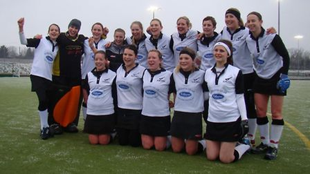 CHAMPIONS! Harleston Magpies Ladies face the camera after drawing 1-1 with Sevenoaks at Weybread on