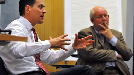 Former foreign secretary David Miliband speaking at the UEA with Charles Clarke. Photo: Bill Smith