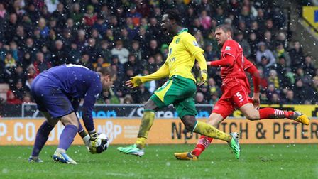 Kei Kamara shows his frustration in his first Premier League start as Artur Boruc collects the ball