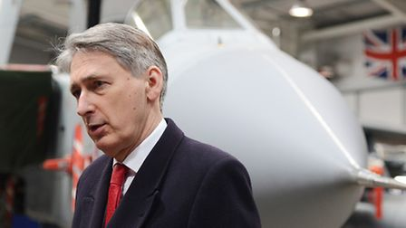 Defence Secretary Philip Hammond chatted with members of the media at RAF Marham after announcing th