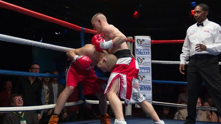Michael Walsh on the attack against Hungarian Krisztain Laufer at the Epic Studios in Norwich on Fri