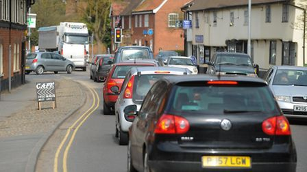 Traffic heads through Long Stratton on the A140. Photograph Simon Parker