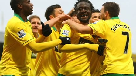 On-loan Kei Kamara scores his first Norwich City goals as he helps them to a 2-1 Premier League win