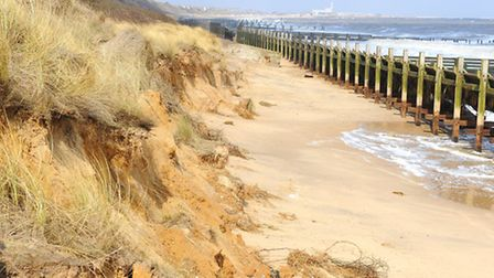 Coastal erosion of the beach at Hopton making access to the beach from the Hopton Holiday Village vi
