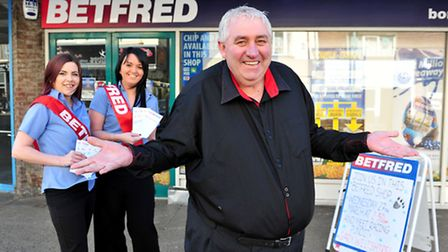 Racing pundit Gary Wiltshire make a visit to Yarmouth's BETFRED shop to promote dog racing at Yarmou