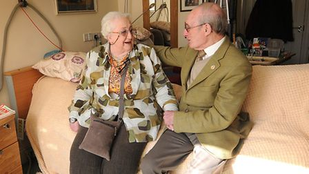 St Michael's Care Complex in Aylsham. Resident Margaret Sheail 81 in her room with Rees Coghlan MBE,