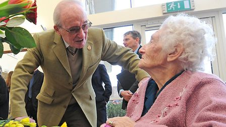 St Michael's Care Complex in Aylsham. Rees Coghlan MBE, founder and trustee of ACT, chatting to resi