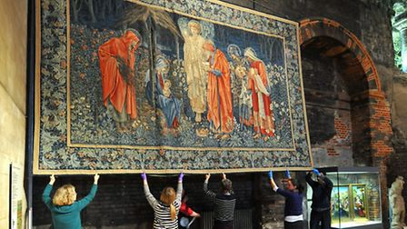 The painstaking job of removing and cleaning the Burne Jones tapestry at Norwich castle museum for i