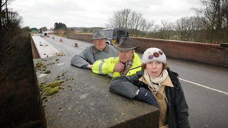 Steps to Safety campaigners on the A148 rail bridge. They now want the Cromer crematorium developer