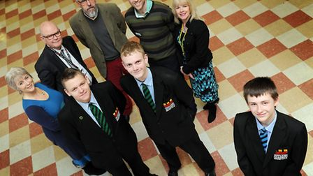 The launch of SWARM at Wayland Academy, Wayland student apprentices, Karl Duke (front right) with fr