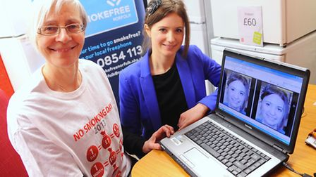 Reporter Sabah Meddings, right, has her photo analysed by software to show what she would look like at the age of 60 as a...