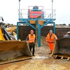 Bill Littleboy and Rupert Jarvis with the new machinery at Longwater Gravel at Horstead. Photo: Bil
