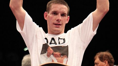 Liam Walsh celebrates after beating Domenic Urbano in their WBO European lightweight championship cl