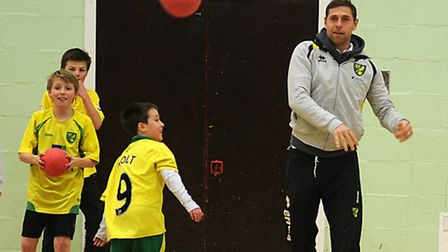 Norwich City FC player Grant Holt at Street Sports in North Walsham Sports Centre earlier this week.