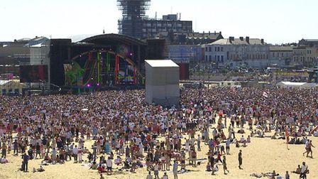Crowds of people at the Pop Beach 2003 concert on central beach , Great Yarmouth 13/7/2003Photo: J