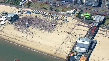 Picture shows: aerial view of the pop concert held at yarmouth with top celebrity bands.Pop Beach 20