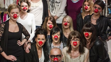 Staff and models accessorise for Red Nose Day at Norwich Fashion Week.