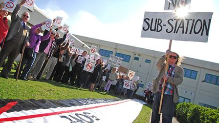 Protestors at the Breckland Council meeting about Little Dunham substation application in 2010.