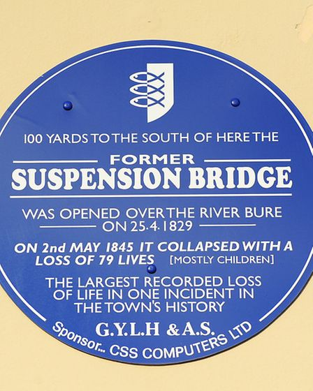 This blue plaque is all that marks the site of the disaster which claimed the lives of 79 people, ma