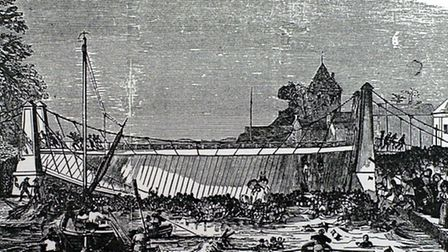 An artist's drawing of the suspension bridge collapse.