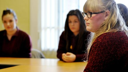 Hewett school students talking about attitudes to body image. Photo: Bill Smith