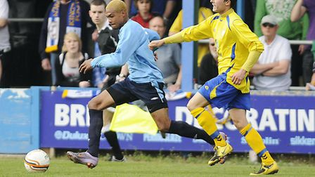 Dan Jacob in action for St Neots, against Lynn, during the clubs days in the United Counties League.