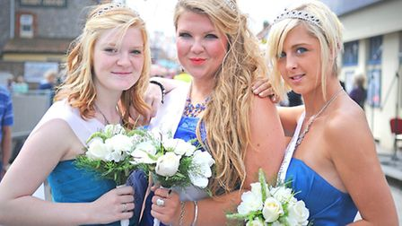 Sheringham Carnival 2012. Carnival queen Poppy Mabbitt with her attendants, left, Sophie Royle and A