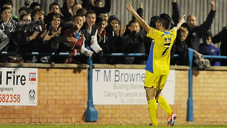 Lynn fans will be hoping for similar scenes as these tonight when Steve Spriggs celebrated a goal ag