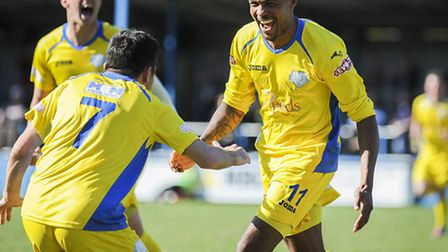 Lynn's Dan Jacob celebrates after scoring two goals for his side on Saturday - his skipper hopes for