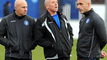 Lowestoft Town management trio of Ady Gallagher (left), Mickey Chapman and Craig Fleming (right). Picture: James Bass