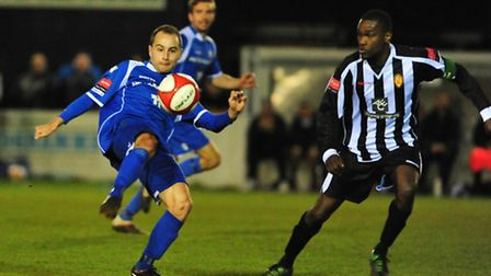 Chris Henderson in action during Lowestoft Town's play-off semi-final win over East Thurrock United.