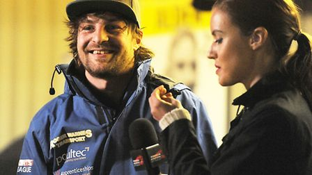 Stars' skipper Mads Korneliussen chats with Charlie Webster during Wednesday's meeting against Poole