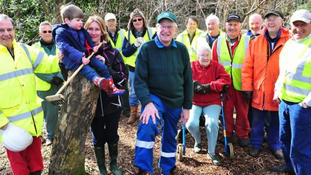 SHORTLISTED: Barry Shimmield, centre, and his fellow volunteers at the Gunton Woodland Community Pro
