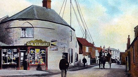 A postcard showing Caister's Marconi station on the High Street