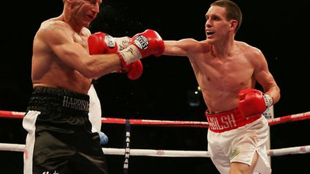 Liam Walsh (right) on his way to victory over Scott Harrison at Wembley Arena.