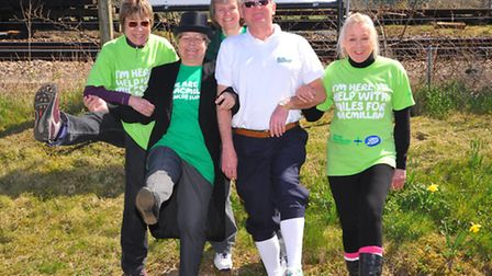 The Bure Valley Railway Walk in aid of Macmillan Cancer Support. Fundraisers enjoying the sun at Wro
