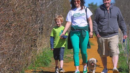 The Bure Valley Railway Walk in aid of Macmillan Cancer Support. Nathalie Marshall, her son James, S