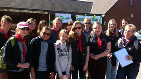 3rd Aylsham Guides pictured as they prepared to set out on their nine-mile walk from Aylsham to Wrox