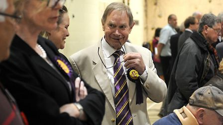 Norfolk County council election 2013. The north Norfolk count at Cromer Academy. UKIP's Michael Bake
