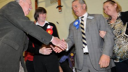 Norfolk County council election 2013. The north Norfolk count at Cromer Academy. UKIP's David Ramsbo