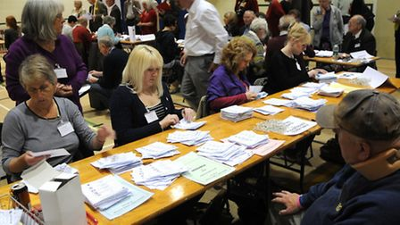 Norfolk County council election 2013. The north Norfolk count at Cromer Academy. PHOTO: ANTONY KELL