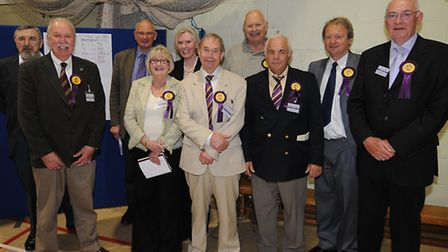 Norfolk County council election 2013. The north Norfolk count at Cromer Academy. UKIP's candidates a