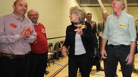 Norfolk County council election 2013. The north Norfolk count at Cromer Academy. Left, Labour's Davi