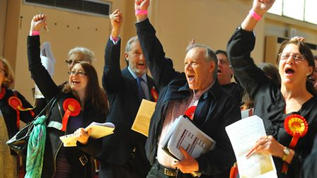 Norfolk County Council Norwich division elections count in St Andrews Hall, Norwich. Jubilant Labour