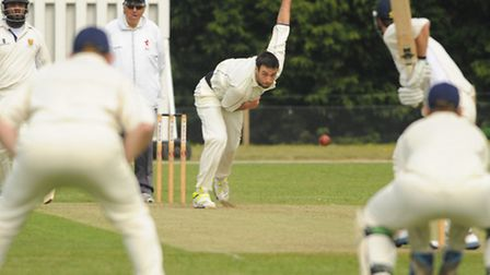 Dominic Reed bowls for Norfolk against Shropshire at Manor Park.