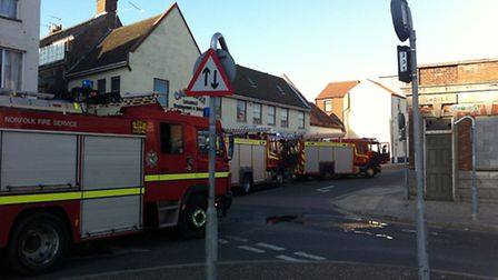 Three fire crews attended a house fire in Stonecutter's Way, Great Yarmouth.