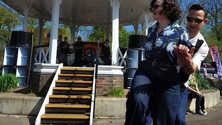 Swing Dancers entertain at the International Workers Day concert in Chapelfield Gardens, Norwich. Ph